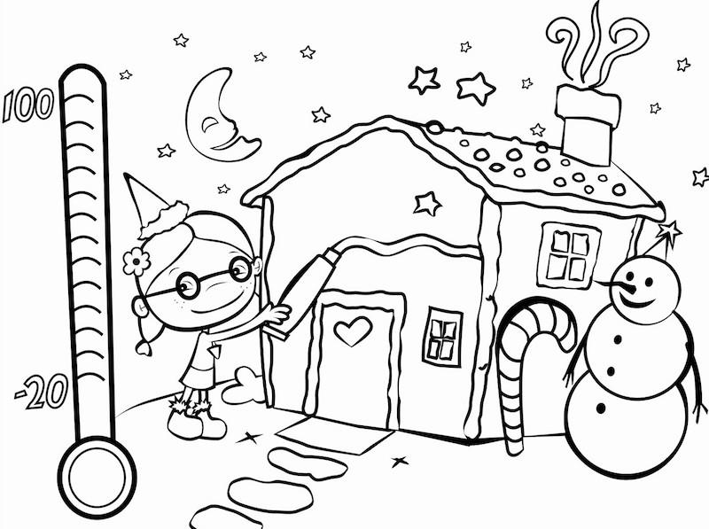 coloriage noel avec maison sous la neige et bonhomme de neige à colorier pour petits