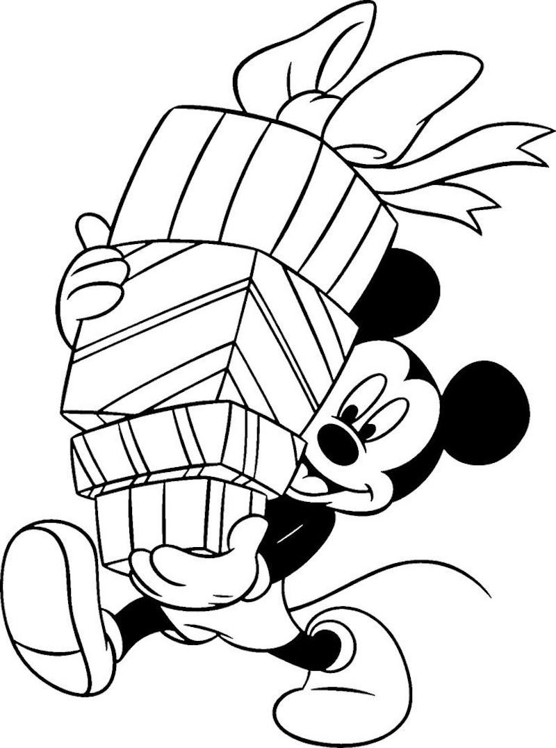 coloriage de noël avec mickey mouse qui tient une pile de cadeaux simples à colorier