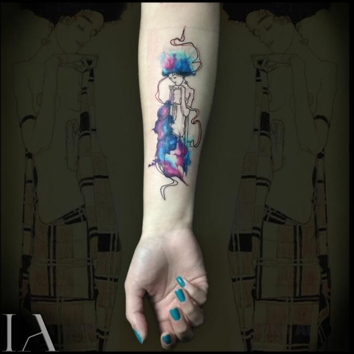 Tatouage jambe femme, miniature tatouage avant bras cool idées pour moi, femme silhouette fleur coloré double exposition original tatouage