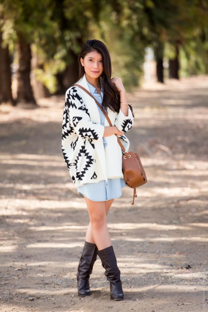 Vetement hippie chic avec un seul détail hippie chic - gilet à motif, look bohème chic femme automne, les meilleures tenues de style hippie chic pour la saison