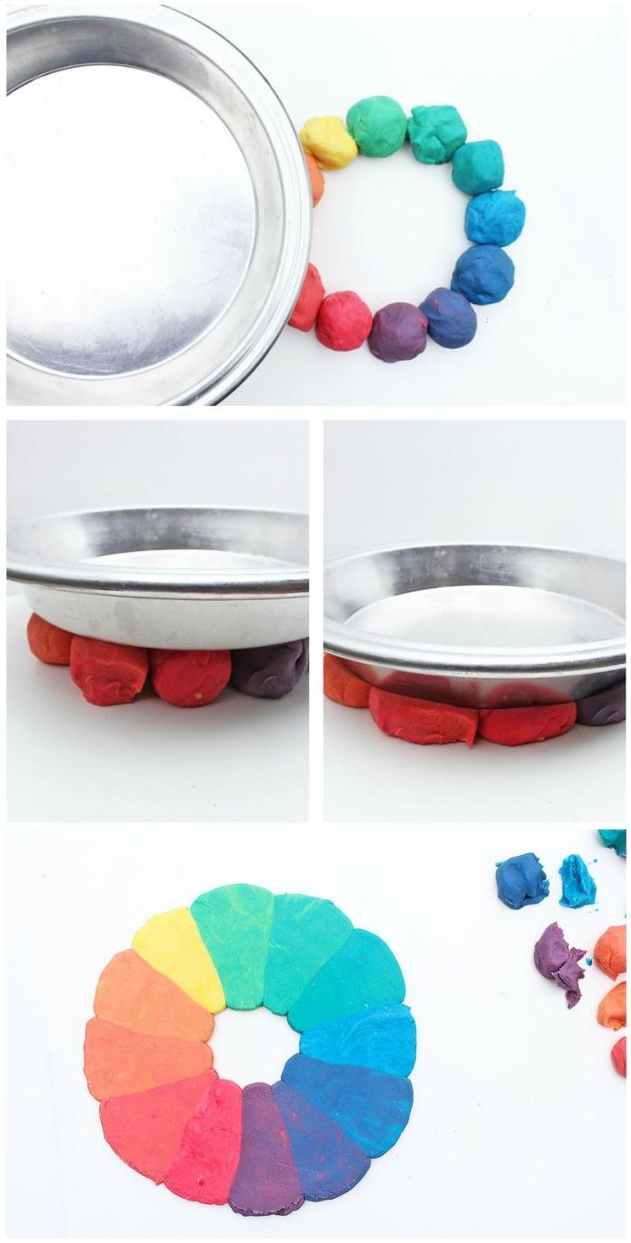 activités éducatives et jeux de pâte à modeler, réaliser un cercle chromatique en pâte à modeler multicolore