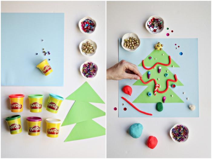 bricolage de noel en maternelle, décoration d'un sapin de noel en papier vert avec des petits modèles en play doh