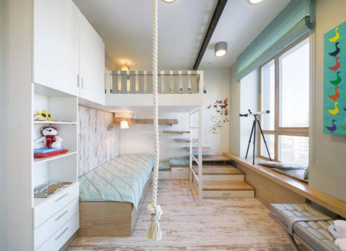 chambre blanche d'enfant, design esthétique, lit sous le plafond, bibliothèque blanche, télescope, banquette grise et grande fenêtre