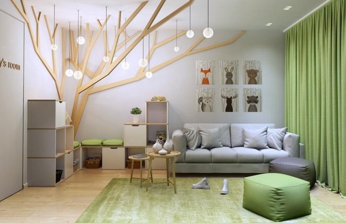 bois décoratif, tapis vert, tabouret vert, sofa gris, étagère sur mesure, tableaux aux motifs scandinaves