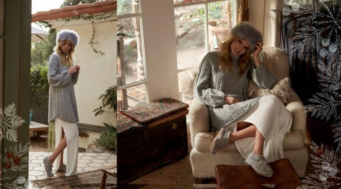 Le style pour la maison et autour, pull et robe longue fendue, chapeau fausse fourrure femme, robe bohème chic, adorable idée de tenue cozy