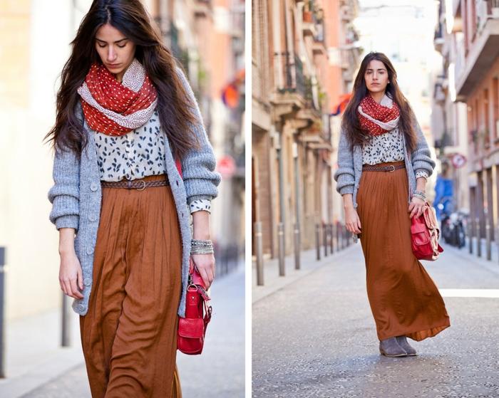 Gilet longue d hiver femme associée avec une robe bohème chic pour créer une tenue magnifique, tenue bohème à jupe longue et chemise evasee