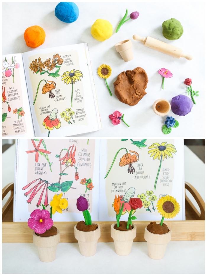 kit de pâte à modeler pour réaliser des pots de fleurs, contenant des fausses fleurs, de la pâte à modeler multicolore, des mini-pots en bois et un rouleau