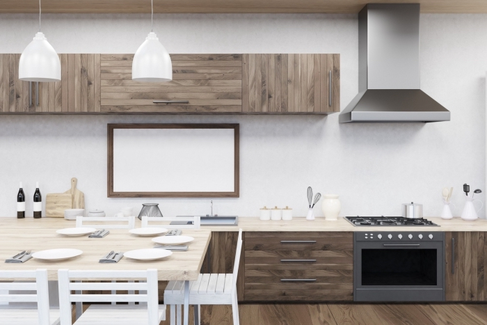 quelles couleurs associer pour une déco de cuisine moderne et minimaliste, exemple de cuisine en longueur avec table à manger