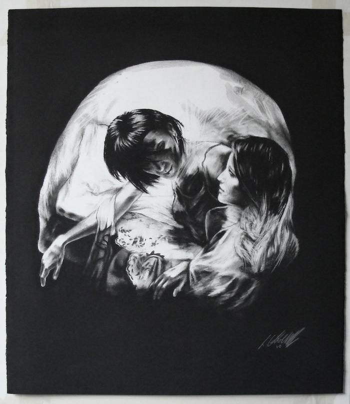 Dessin noir et blanc triste, double exposition dessin de deux femmes qui forment un crane mort, expression de sentiment