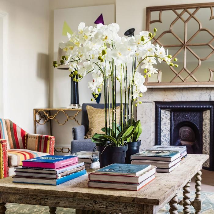 plante d intérieur fleurie orchidées blanches en pot sur une table bois brut, entourées de piles de livres, cheminée, fauteuil à rayures, deco salon originale