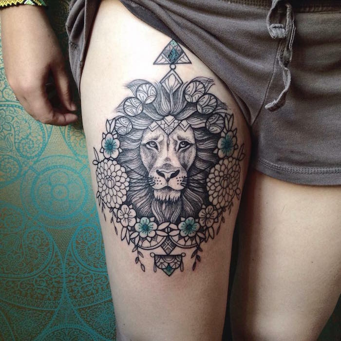 Manchette tatouage, quelle est la plus originale idée faire son dessin, cuisse lion magnifique