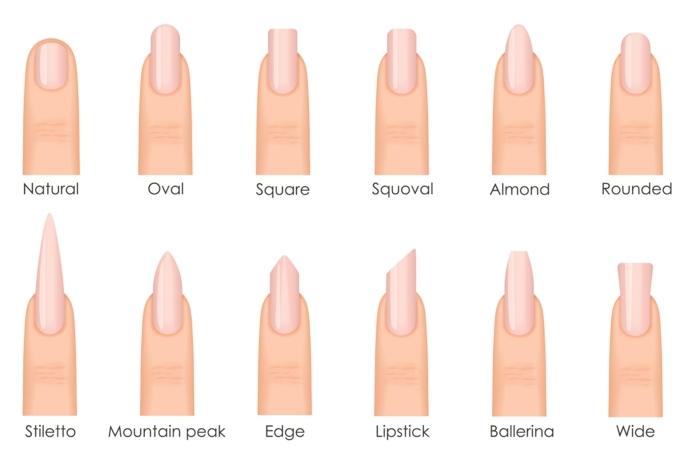 les formes des ongles populaires et les formes des ongles tendances, une liste de douze formes intéressantes