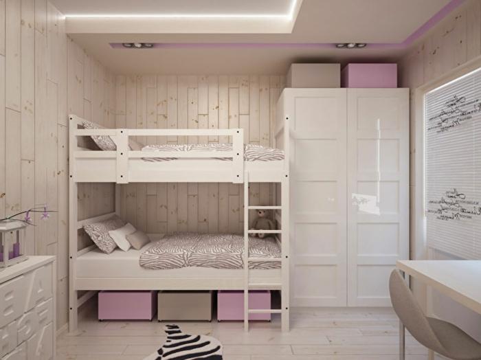 lits superposés blancs, rangement en caissons modernes, faux tapis peau de zèbre; armoire dressing, lambris blanc