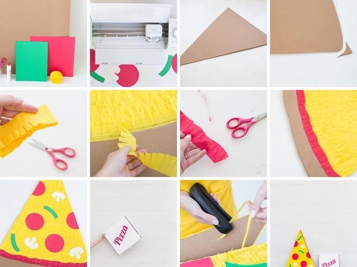 tutoriel pour réaliser un costume halloween original et rigolo, deguisement a faire soi meme avec carton et papier, costume de pizza