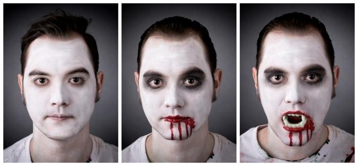 maquillage vampire garcon, homme maquillé avec peinture blanche et faux sang de vampire