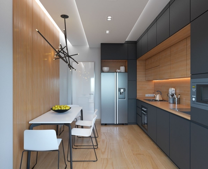 idée comment aménager une petite cuisine en bois et noir, exemple de déco murale avec peinture blanche et lambris mural
