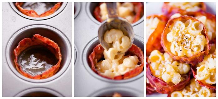 recette apero enfant facile mac and cheese, idée de pâtes aux fromages dans une coupelle de lard, muffins pate fromages