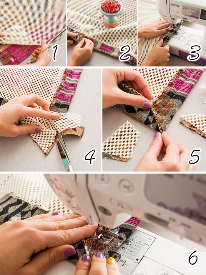 étapes à suivre pour réaliser un tapis facile, coudre les bordures d'un tapis fait main, tapis en tissu d'ameublement et filet anti-dérapant