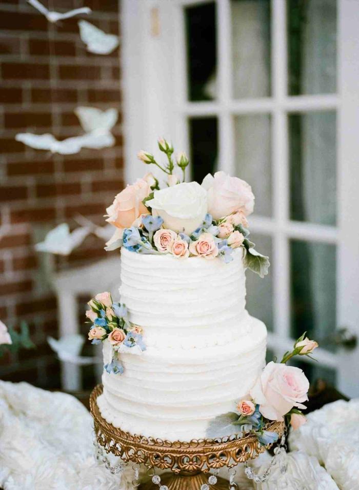 Idée gateau anniversaire original, gateau anniversaire simple et beau, les plus beaux gateaux blanc