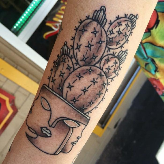 Tatouage original, galerie de photos inspiration tatouage extraordinaire tasse avec visages, pot de fleur cactus tatouage