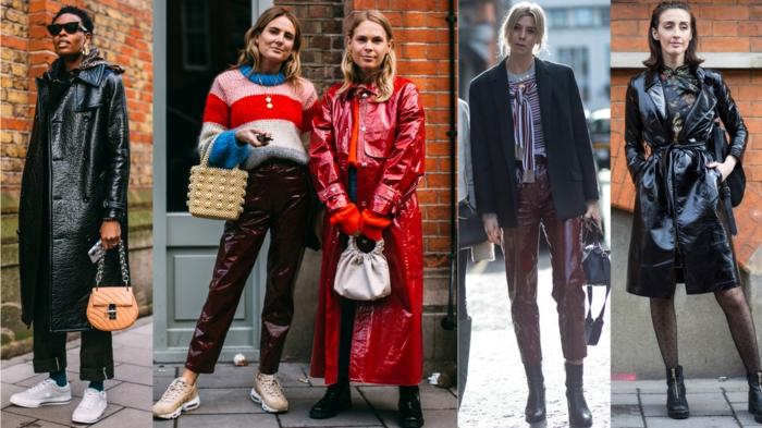 manteau de femme modèles divers, manteau femme rouge longue aux chevilles, imperméables tendance