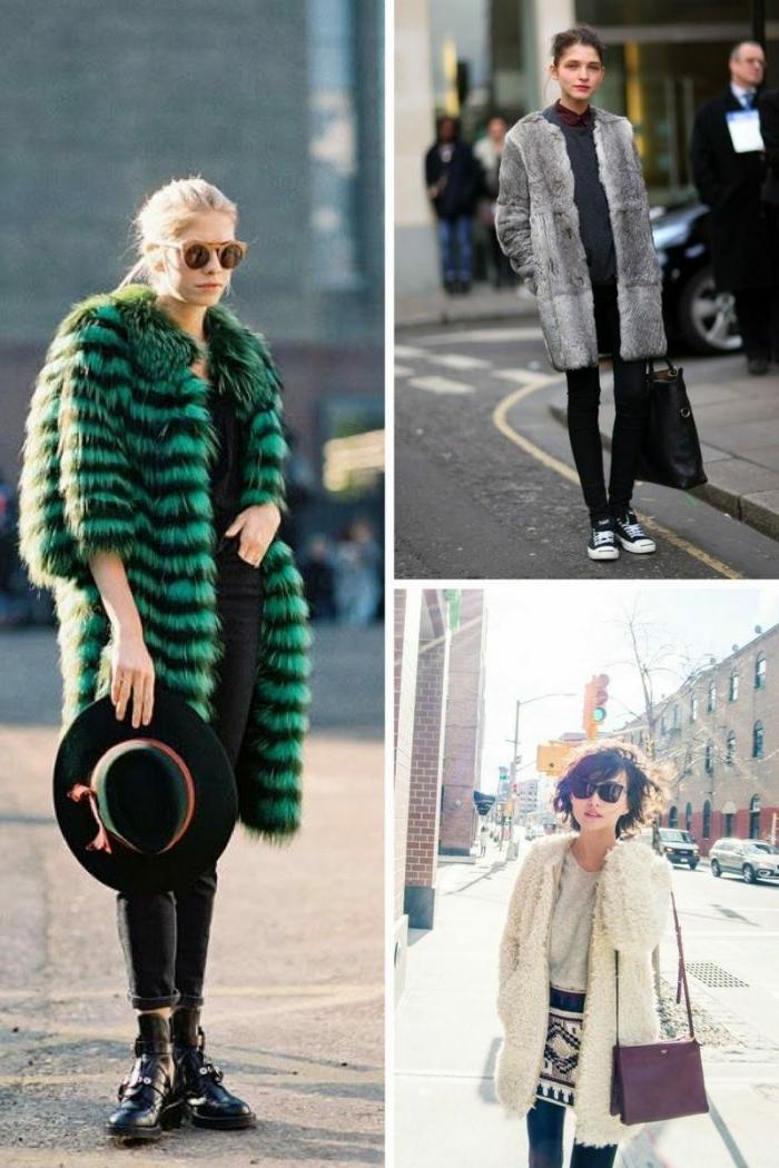 manteau fourrure, chapeau de feutre noire, lunettes aviateur, manteau fourrure rayée manche mi-longue