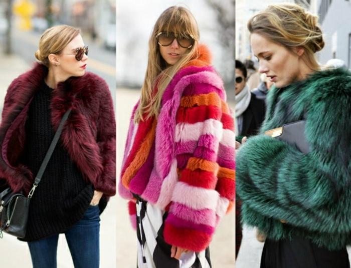 jeans bleus, manteau fourrure bordeaux, manteau poilu rayures multicolores, mode femme d'hiver