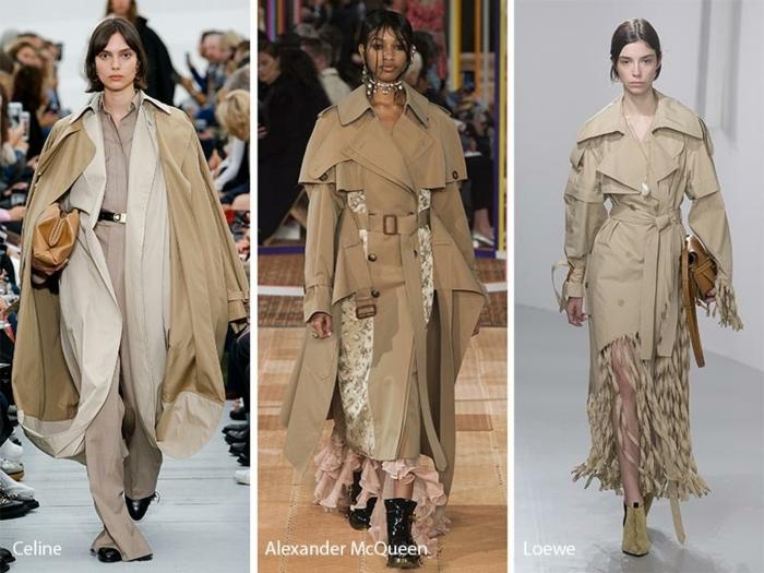 présentation de la collection Alexander McQueen, trenchs beiges, manteaux en blanc cassé et robes à volants