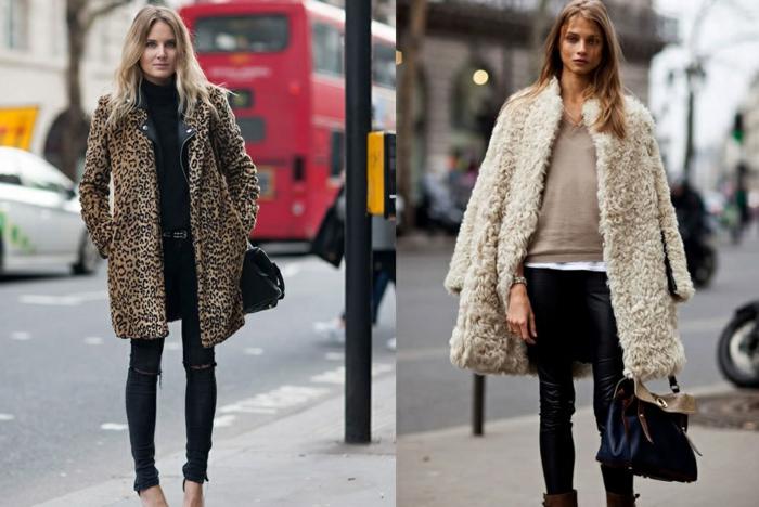 deux femmes en manteaux tendance, manteau léopard, leggings noirs, sacs noirs