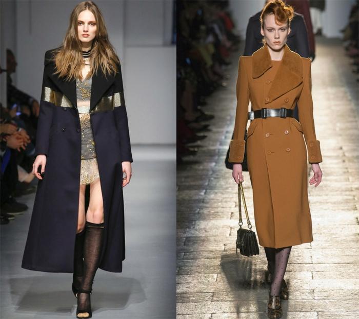 manteaux aux coupes strictes et ajustées, élément en cuir cousu au manteau long, manteau en laine couleur tabac