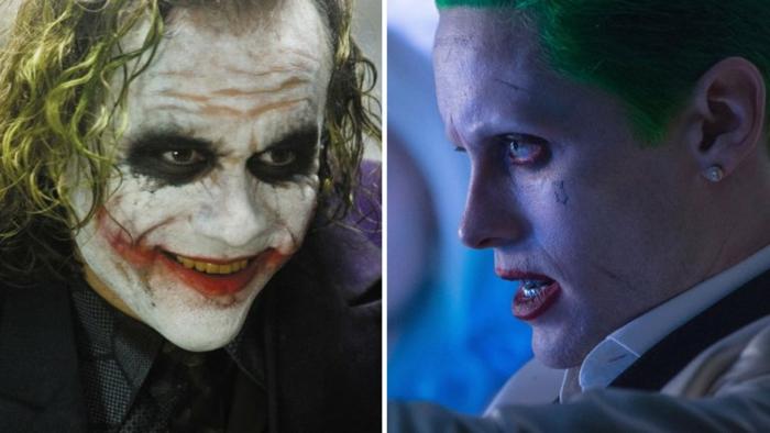 déguisement Joker pour halloween, visage blanchi, cavités oculaires noires, lèvres rouges
