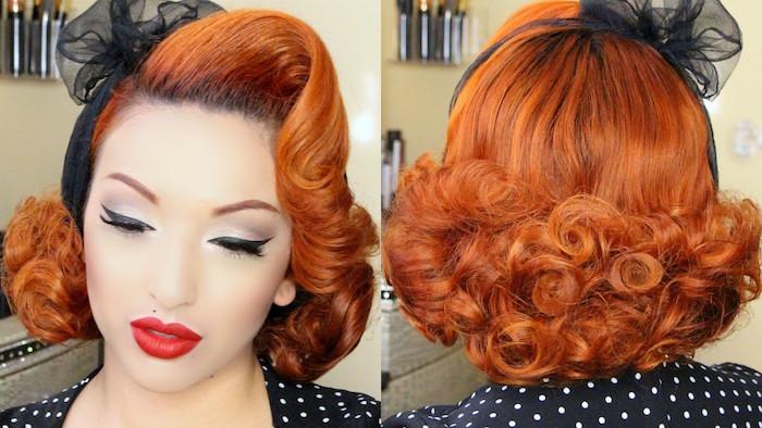 comment se préparer pour une soirée déguisement thème année 50 facon pin up avec maquillage retro et coiffure vintage avec frisottis et victory rolls