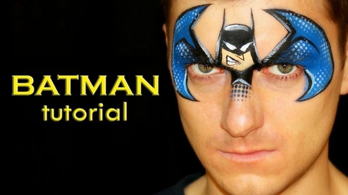 maquillage halloween garcon minimaliste, figure de batman sur le visage, idée maquillage d'homme original