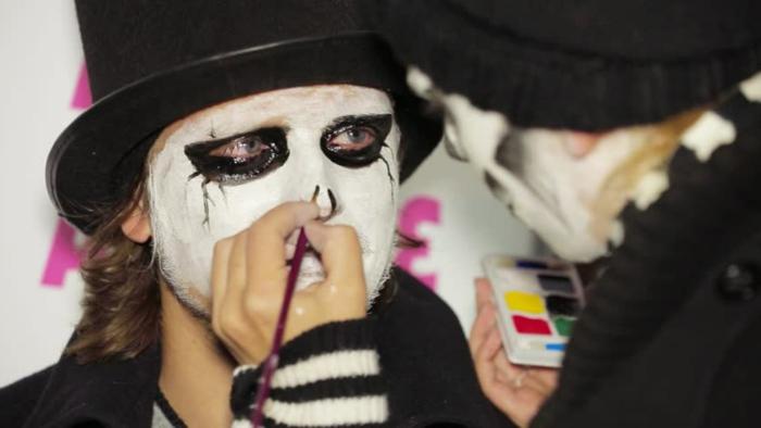 visage blanchi et cavités oculaires noires, chapeau cylindre, les étapes pour se faire un maquillage halloween
