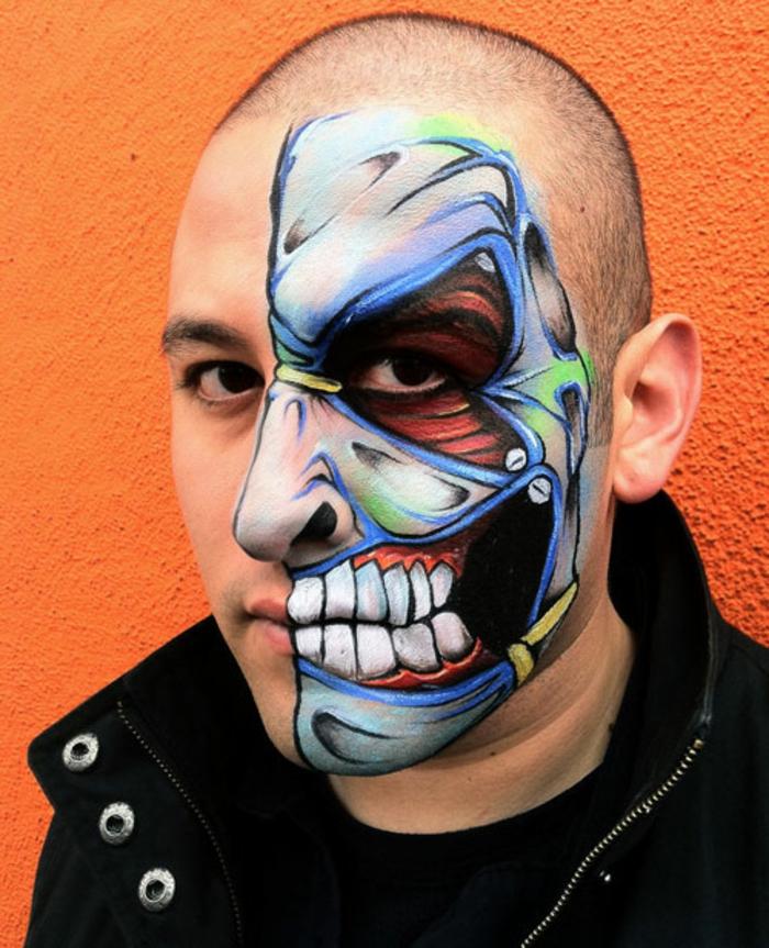 l'anatomie du visage peinte sur la peau, grandes dents blanches, visage demi maquillé aux éléments steampunk