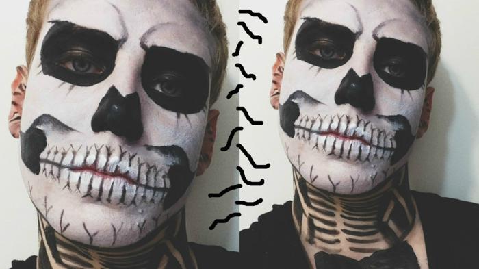 créer un maquillage halloween garcon avec peintures de visage, cavités oculaires et nez peints noirs, dents blanches