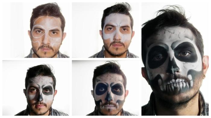 comment se faire un maquillage halloween facile, visage qui fait semblant de tête de mort, peinture sur visage noir et blanc