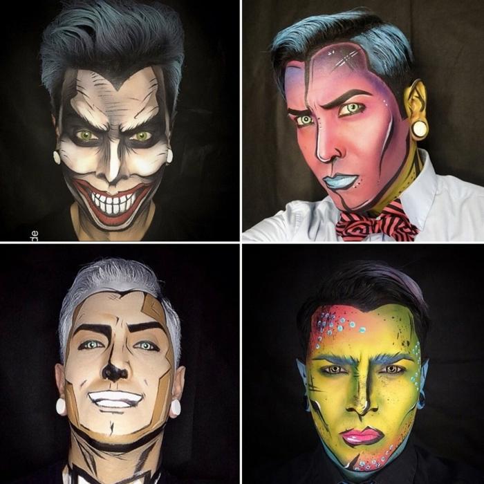 maquillage pop art homme, visages colorés faire semblant des héros de films animés, visages aux couleurs néons