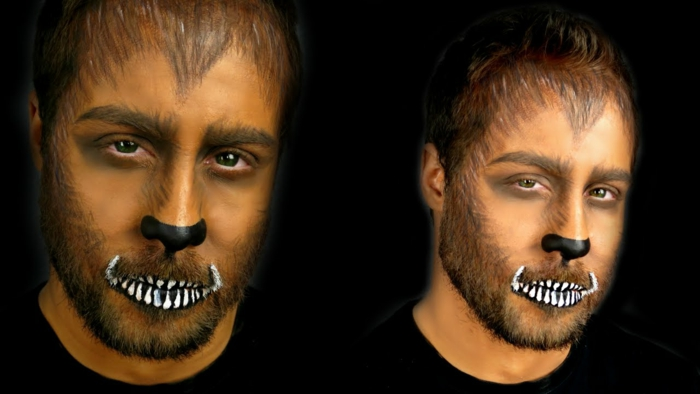 maquillage de halloween loup, dents blanches, nez noir, visage poilu, maquillage halloween facile