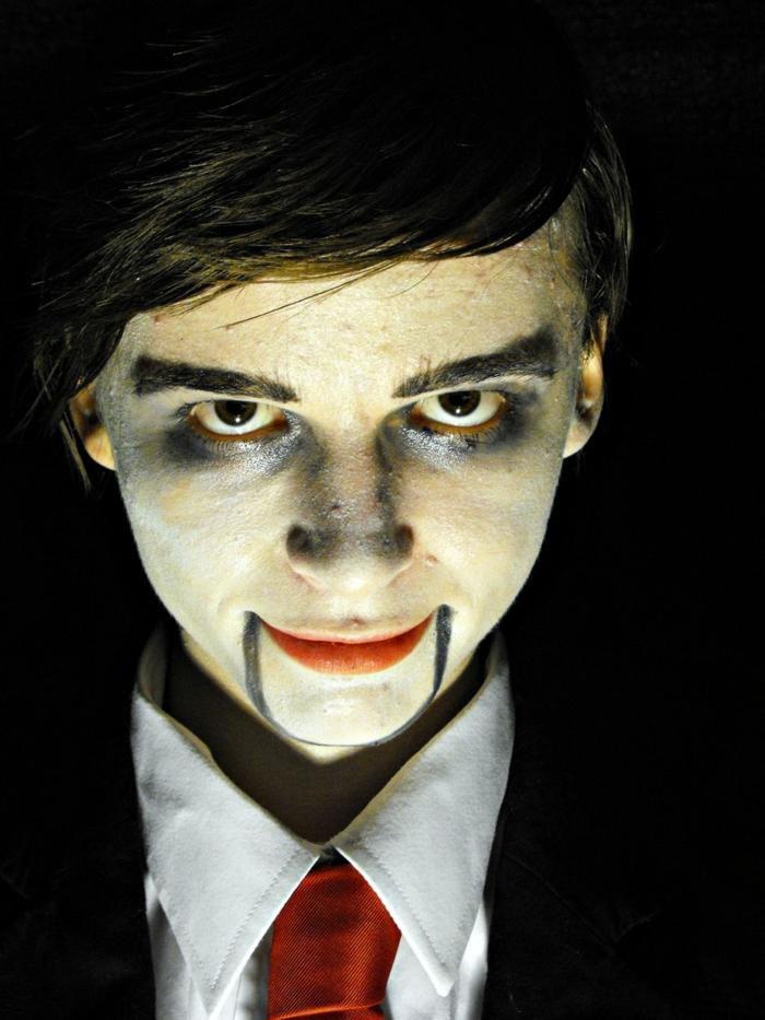 maquillage simple homme, lèvres rouges, traces noires autour de la bouche, ombres autour des yeux, sourcils soulignés