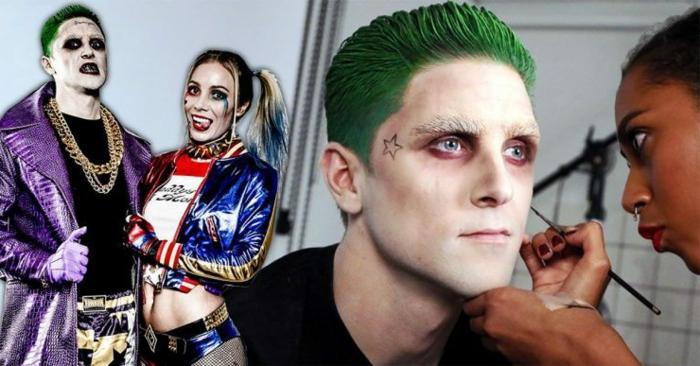 un Joker aux cheveux verts, étoile au tempe, sourcils blanchis, maquillage halloween facile