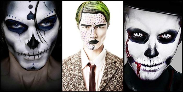 maquillage pop art pour homme, visages bizarres, peinture visage originale, cheveux peints, ombres noires