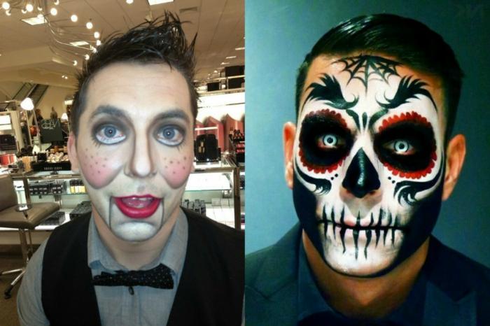 lèvres rouges, joues à pois noirs, yeux grotesques, coiffure super héros, tête de mort mexicaine traditionnelle