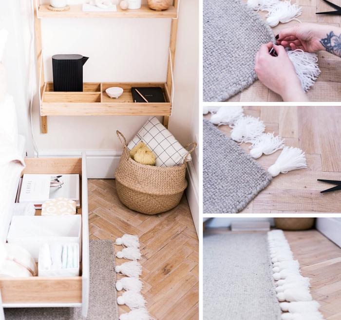exemple comment customiser facilement un tapis en pompon ou tassels, déco style bohème chic dans une chambre ado