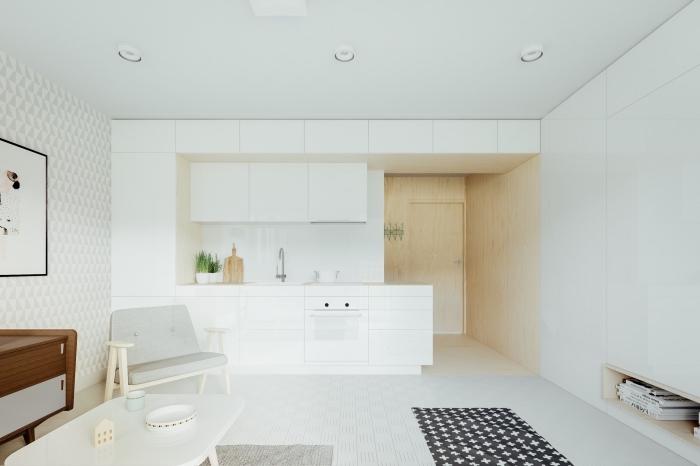 aménagement cuisine ouverte blanche, modèle de petite cuisine blanche à style minimaliste, idée cuisine ouverte