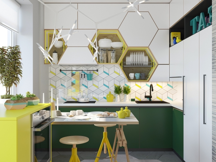 design intérieur contemporaine dans une petite cuisine blanche avec accents coloris, idée credence cuisine au carrelage