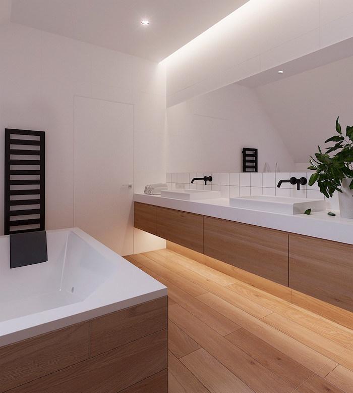 modele grade salle de bain moderne avec parquet et cadre meubles en bois et blanc brillant avec baignoire et double lavabo design