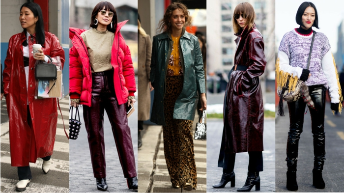 manteaux saison froide, doudoune, imperméable, veste vert olive, long manteau cuir burgundy, leggings noirs