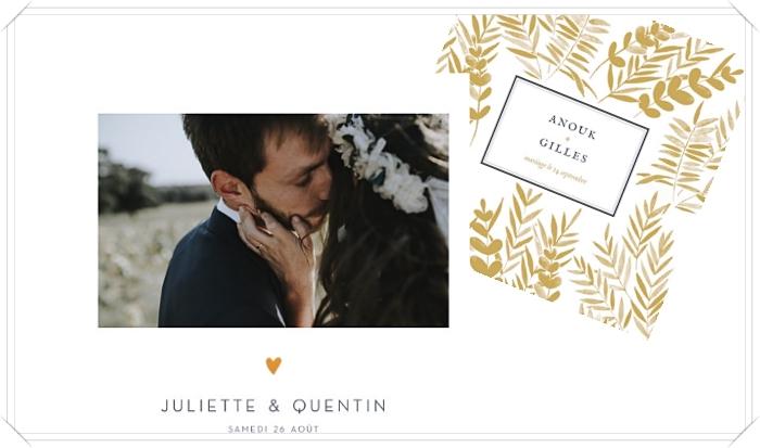 exemple de faire-part de mariage original avec photo paysage et petit coeur doré, invitation mariage classique à motifs feuilles dorées