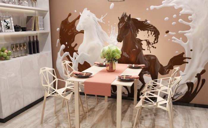 comment décorer les murs dans une cuisine avec coin repas, exemple de mur habillé en papier peint à effet 3D